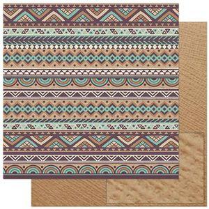 Papel-Scrapbook-Litoarte-305x305cm-SD-902-Barrado-Tribal-Marrom-e-Verde