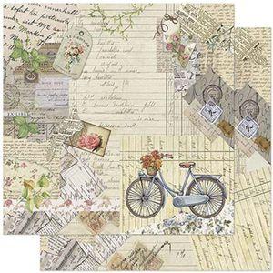 Papel-Scrapbook-Litoarte-305x305cm-SD-903-Bicicleta-com-Flores-Vintage