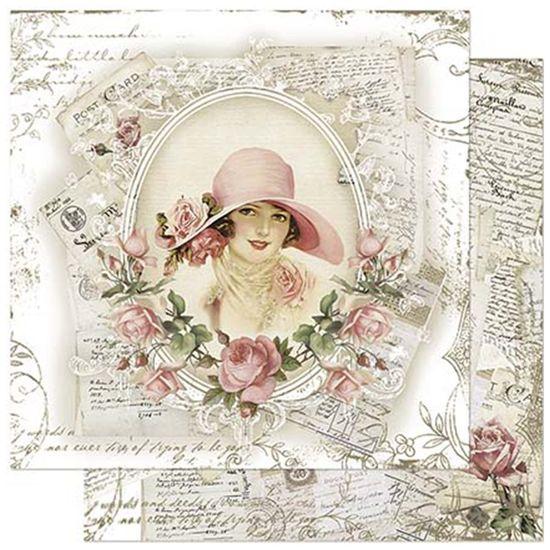 Papel-Scrapbook-Litoarte-305x305cm-SD-913-Dama-e-Rosas-Vintage