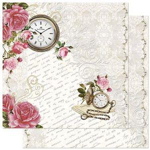 Papel-Scrapbook-Litoarte-305x305cm-SD-914-Relogio-Rosas-Shabby-Chic