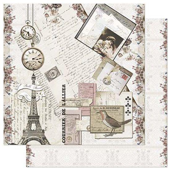 Papel-Scrapbook-Litoarte-305x305cm-SD-916-Cartas-Selos-Relogio-e-Torre-Eiffel
