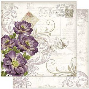 Papel-Scrapbook-Litoarte-305x305cm-SD-918-Flores-Roxas-e-Arabescos