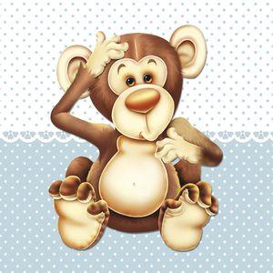 Placa-Decorativa-Infantil-com-Aplique-em-MDF-Litocart-LPQI-010A-20X20cm-Macaco-Fundo-Azul