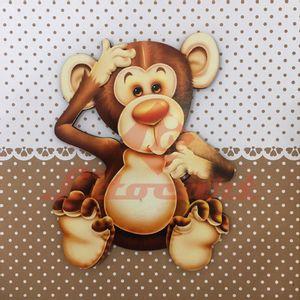 Placa-Decorativa-Infantil-com-Aplique-em-MDF-Litocart-LPQI-010M-20X20cm-Macaco-Fundo-Marrom