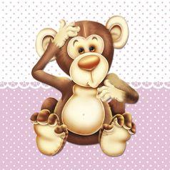 Placa-Decorativa-Infantil-com-Aplique-em-MDF-Litocart-LPQI-010R-20X20cm-Macaco-Fundo-Rosa