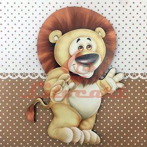 Placa-Decorativa-Infantil-com-Aplique-em-MDF-Litocart-LPQI-011M-20X20cm-Leao-Fundo-Marrom