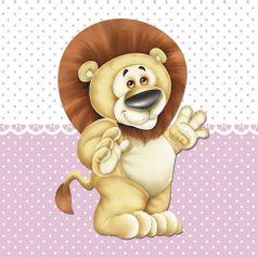 Placa-Decorativa-Infantil-com-Aplique-em-MDF-Litocart-LPQI-011R-20X20cm-Leao-Fundo-Rosa