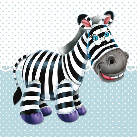 Placa-Decorativa-Infantil-com-Aplique-em-MDF-Litocart-LPQI-012A-20X20cm-Zebra-com-Fundo-Azul