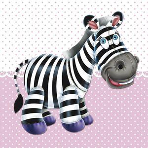Placa-Decorativa-Infantil-com-Aplique-em-MDF-Litocart-LPQI-012R-20X20cm-Zebra-com-Fundo-Rosa