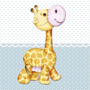 Placa-Decorativa-Infantil-com-Aplique-em-MDF-Litocart-LPQI-013A-20X20cm-Girafa-com-Fundo-Azul