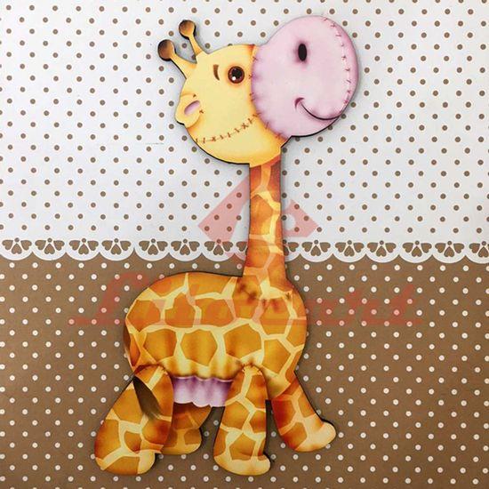 Placa-Decorativa-Infantil-com-Aplique-em-MDF-Litocart-LPQI-013M-20X20cm-Girafa-com-Fundo-Marrom