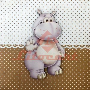 Placa-Decorativa-Infantil-com-Aplique-em-MDF-Litocart-LPQI-014M-20X20cm-Hipopotamo-com-Fundo-Marrom