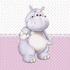 Placa-Decorativa-Infantil-com-Aplique-em-MDF-Litocart-LPQI-014R-20X20cm-Hipopotamo-com-Fundo-Rosa