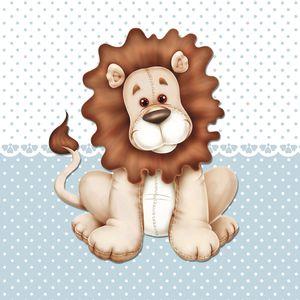 Placa-Decorativa-Infantil-com-Aplique-em-MDF-Litocart-LPQI-015A-20X20cm-Leao-com-Fundo-Azul
