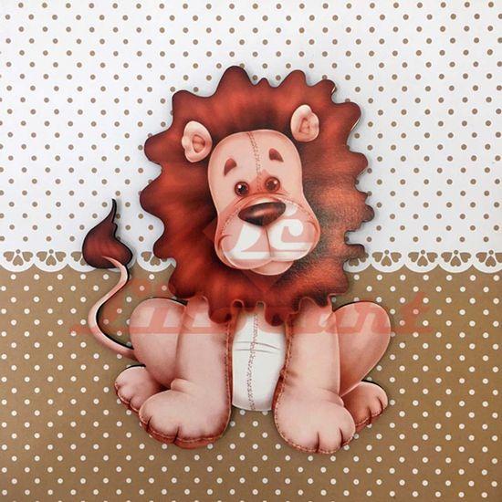 Placa-Decorativa-Infantil-com-Aplique-em-MDF-Litocart-LPQI-015M-20X20cm-Leao-com-Fundo-Marrom
