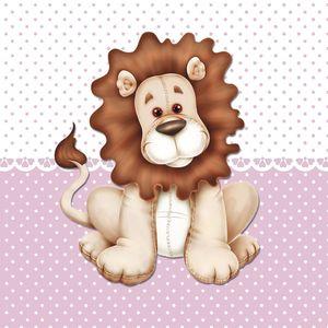 Placa-Decorativa-Infantil-com-Aplique-em-MDF-Litocart-LPQI-015R-20X20cm-Leao-com-Fundo-Rosa