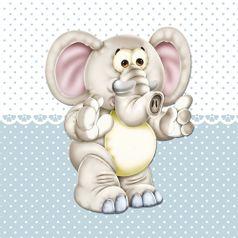 Placa-Decorativa-Infantil-com-Aplique-em-MDF-Litocart-LPQI-016A-20X20cm-Elefante-com-Fundo-Azul