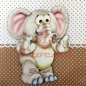 Placa-Decorativa-Infantil-com-Aplique-em-MDF-Litocart-LPQI-016M-20X20cm-Elefante-com-Fundo-Marrom