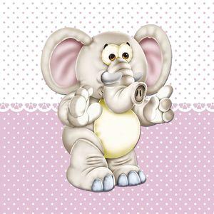 Placa-Decorativa-Infantil-com-Aplique-em-MDF-Litocart-LPQI-016R-20X20cm-Elefante-com-Fundo-Rosa