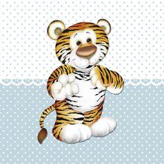 Placa-Decorativa-Infantil-com-Aplique-em-MDF-Litocart-LPQI-017A-20X20cm-Tigre-com-Fundo-Azul