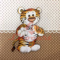 Placa-Decorativa-Infantil-com-Aplique-em-MDF-Litocart-LPQI-017M-20X20cm-Tigre-com-Fundo-Marrom