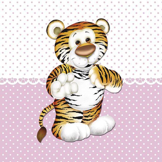 Placa-Decorativa-Infantil-com-Aplique-em-MDF-Litocart-LPQI-017R-20X20cm-Tigre-com-Fundo-Rosa