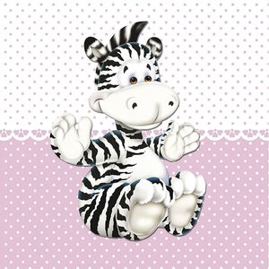 Placa-Decorativa-Infantil-com-Aplique-em-MDF-Litocart-LPQI-018R-20X20cm-Zebra-com-Fundo-Rosa