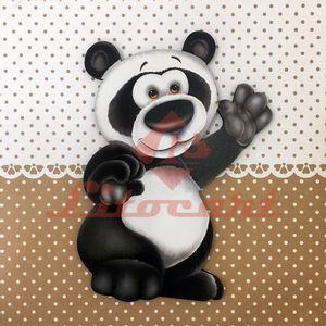 Placa-Decorativa-Infantil-com-Aplique-em-MDF-Litocart-LPQI-019M-20X20cm-Urso-Panda-com-Fundo-Marrom