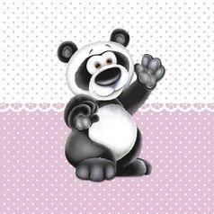 Placa-Decorativa-Infantil-com-Aplique-em-MDF-Litocart-LPQI-019R-20X20cm-Urso-Panda-com-Fundo-Rosa