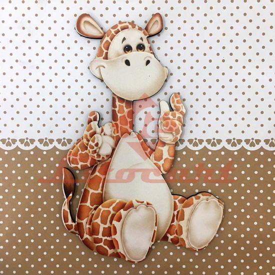 Placa-Decorativa-Infantil-com-Aplique-em-MDF-Litocart-LPQI-020M-20X20cm-Girafa-com-Fundo-Marrom
