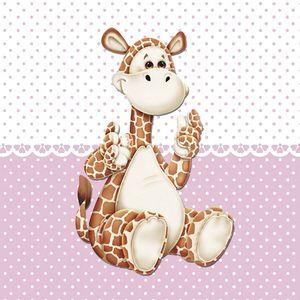 Placa-Decorativa-Infantil-com-Aplique-em-MDF-Litocart-LPQI-020R-20X20cm-Girafa-com-Fundo-Rosa