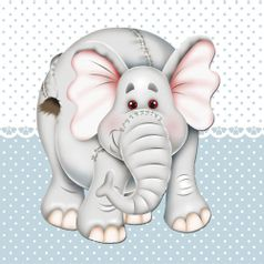 Placa-Decorativa-Infantil-com-Aplique-em-MDF-Litocart-LPQI-021A-20X20cm-Elefante-com-Fundo-Azul