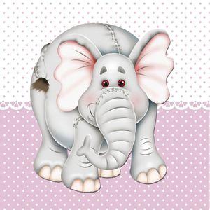 Placa-Decorativa-Infantil-com-Aplique-em-MDF-Litocart-LPQI-021R-20X20cm-Elefante-com-Fundo-Rosa