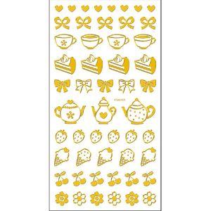 Adesivo-Mini-Foil-Metalizado-Toke-e-Crie-AD1928-Cha-e-Frutas-Dourado