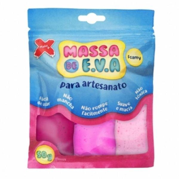 Kit-Massa-de-Modelar-E.V.A-Lisa-Foamy-Make-Mais-para-Artesanato-3-Cores-50g-Rosa---Rosa-Claro---Pink