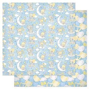 Papel-Scrapbook-Litoarte-305x305cm-SD-814-Padrao-Bebes-Elefantes-Fundo-Azul