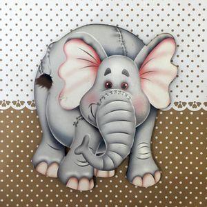 Placa-Decorativa-Infantil-com-Aplique-em-MDF-Litocart-LPQI-021M-20X20cm-Elefante-com-Fundo-Marrom