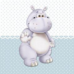 Placa-Decorativa-Infantil-com-Aplique-em-MDF-Litocart-LPQI-014A-20X20cm-Hipopotamo-com-Fundo-Azul