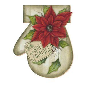 Aplique-Decoupage-Natal-Litoarte-APMN20-008-em-Papel-e-MDF-20cm-Luva-Poinsetia-Vermelha