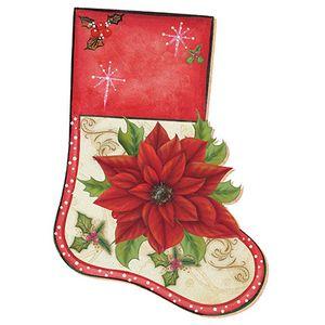 Aplique-Decoupage-Natal-Litoarte-APMN20-011-em-Papel-e-MDF-20cm-Bota-Poinsetia-Vermelha
