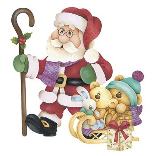 Aplique-Decoupage-Natal-Litoarte-APMN8-086-em-Papel-e-MDF-8cm-Papai-Noel-com-Ursinho-e-Coelho
