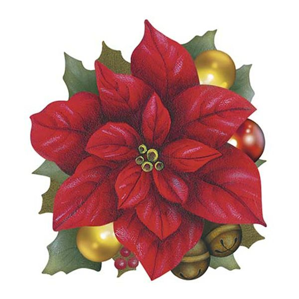Aplique-Decoupage-Natal-Litoarte-APMN8-089-em-Papel-e-MDF-8cm-Poinsetia-com-Bolinhas-de-Natal