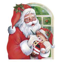 Aplique-Decoupage-Natal-Litoarte-APMN8-091-em-Papel-e-MDF-8cm-Papai-Noel-Janela-com-Ursinho