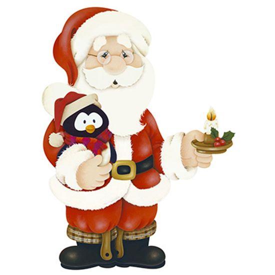 Aplique-Decoupage-Natal-Litoarte-APMN8-106-em-Papel-e-MDF-8cm-Papai-Noel-com-Pinguim