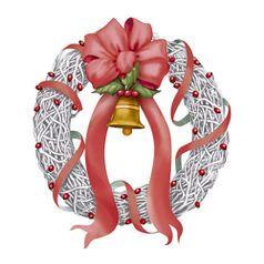 Aplique-Decoupage-Natal-Litoarte-APMN8-115-em-Papel-e-MDF-8cm-Guirlanda-com-Fita-Vermelha