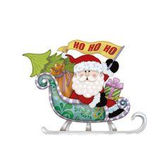 Aplique-Decoupage-Natal-Litoarte-APMN8-122-em-Papel-e-MDF-8cm-Papai-Noel-Treno