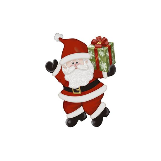 Aplique-Decoupage-Natal-Litoarte-APMN8-133-em-Papel-e-MDF-Papai-Noel-Presente