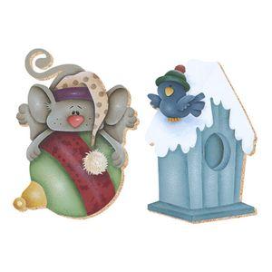 Aplique-Decoupage-Natal-Litoarte-APMN4-004-em-Papel-e-MDF-4cm-Casinha-e-Ratinho
