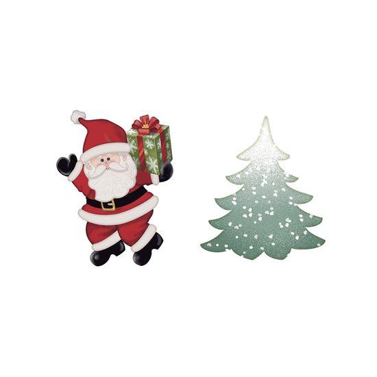 Aplique-Decoupage-Natal-Litoarte-APMN4-014-em-Papel-e-MDF-4cm-Papai-Noel-e-Pinheiro