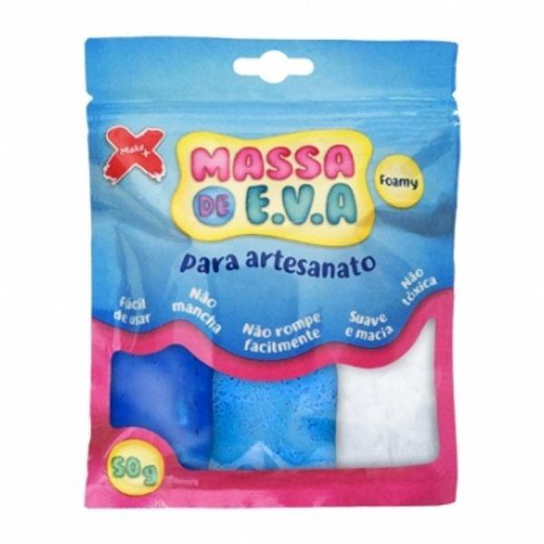Kit-Massa-de-Modelar-E.V.A-Lisa-Foamy-Make-Mais-para-Artesanato-3-Cores-50g-Azul-Claro---Branco---Azul-Escuro